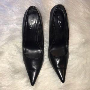 Aldo Black Leather Pump Heels